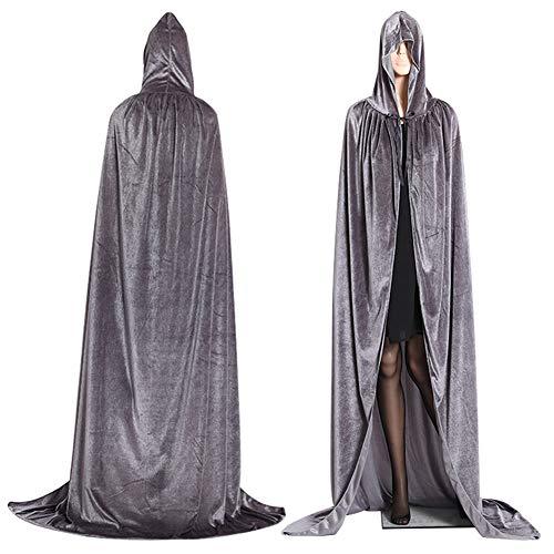 Capa con capucha larga de terciopelo, unisex, disfraz de Halloween, carnaval, Navidad, disfraz de Masquerade (gris, L)
