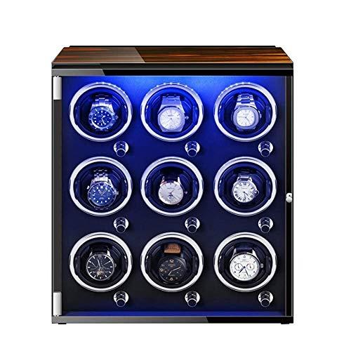 WBJLG Guarda la Custodia per l'archiviazione Automatica dell'avvolgitore dell'orologio con Motore Mabuchi Silenzioso 5 modalità di Rotazione con luci Colorate per la Maggior Parte degli Orologi da