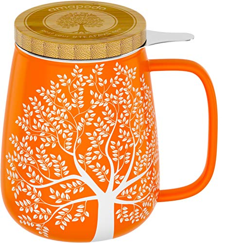 amapodo Taza de té con Tapa y colador Taza Grande de Porcelana de 650 ml, Juego de Tazas...
