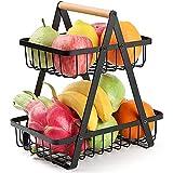 Frutero de 2 niveles para cocina, cesta de pan, verduras, frutas para estante, aperitivos, hogar, cocina, almacenamiento de frutas (negro)