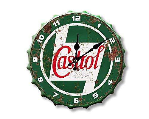 Weird Or Wonderful Reloj de botella Castrol – Vintage Retro Publicidad Petrol Oil Fuel Mancave Hombre Cueva cobertizo Garaje Taller Pub Bar Regalo