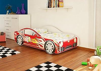 Cama infantil con diseño de coche en cuatro colores, con somier y colchón, 70 x 140cm