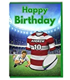 Maillot de rugby carte d'anniversaire–Gloucester Couleurs–personnalisé avec un nom et numéro