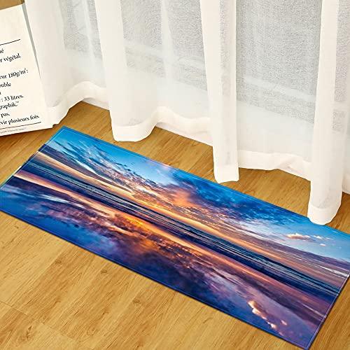 OPLJ Tappetini Stampa paesaggi casa Soggiorno Orientale tappetini tappetini Decorativi Antiscivolo Lavabile in Microfibra Tappeto A1 60x180cm