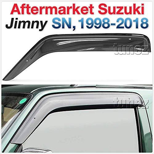 tunez® Fenstertür Visier Wetterschutz Wetterschutz Kompatibel mit Suzuki Jimny SN Jahr 1998-2018 Installation nur an den vorderen 2 Türen.