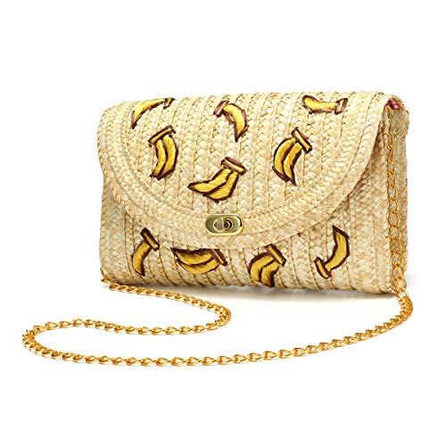 Bolso de Paja Crossbody, JOSEKO Bolso de Mimbre de Las Mujeres Bolso de Paja Bolsa de Embrague de la Playa del Verano Bandolera Cadena plátano Cereza