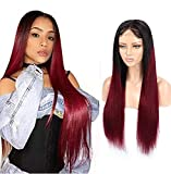 Avankwig 4x4 Closure Wig Straight 1B 99J Ombre Wig Human Hair Wine Red Bleached Knots Swiss Lace Wig Free Part with Baby Hair Dark Roots 16 Inch