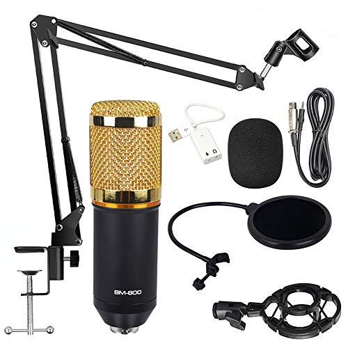 Kondensator Mikrofon Set, BM-800 Studio Tisch Professionell Mikrofon Schall Podcast Studio Rundfunk Streaming Mic Kit für Podcast Aufnahme PC Gaming (mit Arm Ständer&Halter, Gold)