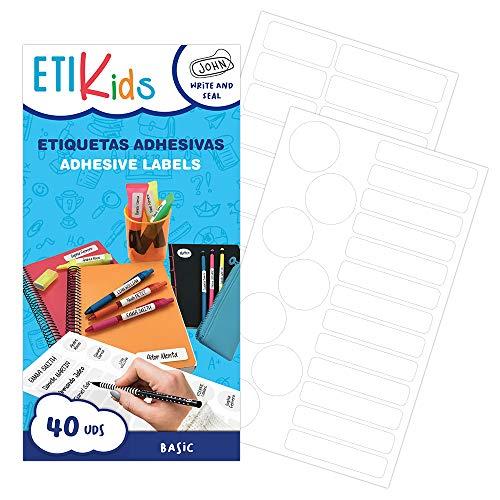 ETIKIDS 40 Etiquetas adhesivas laminadas personalizables multiusos (basic) para la guardería y el colegio.