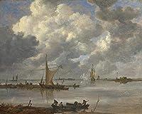 Jan VanGoyen釣り船と2つのフリゲートを備えた河口大人のおもちゃ用の木製ジグソーパズル500ピースDIYチャレンジの装飾子供用の500ピース