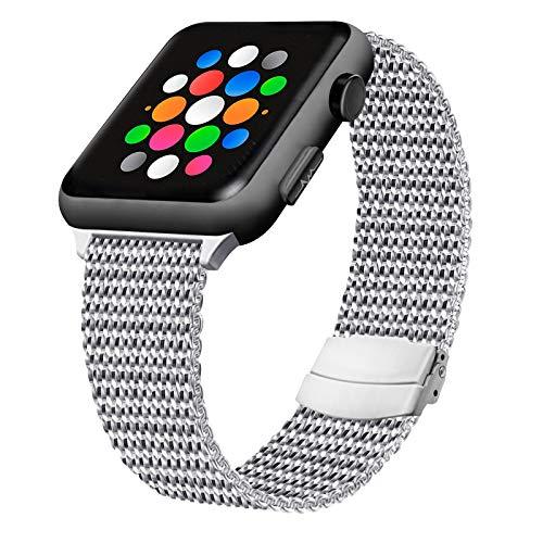 FIA Bracelet Compatible pour Apple Watch Bracelet 44 mm 40 mm 42 mm 38 mm, Sport Bracelet en Acier Inoxydable Métal avec Aimant Compatible avec iWatch Series 6, 5, 4, 3, 2, 1, Se (38/40mm, 1Argent)