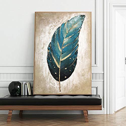 HSFFBHFBH Oeuvre de Toile Plume Bleue avec Feuille dor Peinture Peinture Abstraite Toile Art Mural pour Salon décor Peint 70x100cm (28x39) sans Cadre
