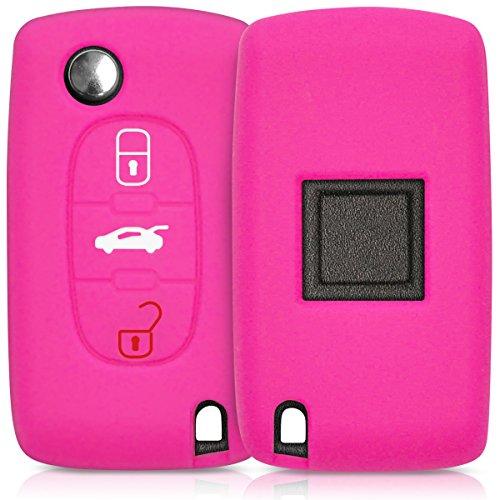 kwmobile Accessoire clé de Voiture Compatible avec Peugeot Citroen 3-Bouton - Coque en Silicone Souple pour Clef de Voiture Fuchsia