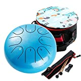Steel Tongue Drum,Percussion Instrument Handpan Drum C Key with Bag, Music Book and Mallets for Meditation Entertainment Musical Education Concert Yoga (Blue 6 inch)
