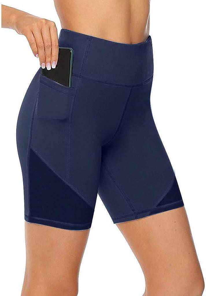 Hotkey Yoga Pants for Women, High Waist Pockets Active Pants Fitness Pure Color Yoga Shorts Slim Athletic Leggings