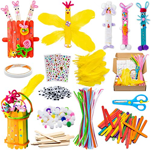 WATINC 280Pcs WoodenDIYArtsCraftKit for Kids Make Your Own Bunny Chick Wood Crafts Wooden Stick Pompoms Pipe Cleaners Feather Wiggle Googly Eyes Crystal Stickers Easter Gift Party Supplies