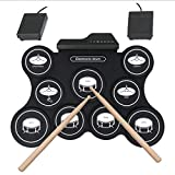 ROCK1ON Electronic Drum Set, Roll Up Drum Practice Pad Midi Drum Kit with Headphone Jack 2 Drum Pedals 2 Drum Sticks 10 Hours Playtime, Great Holiday Birthday Gift for Kids