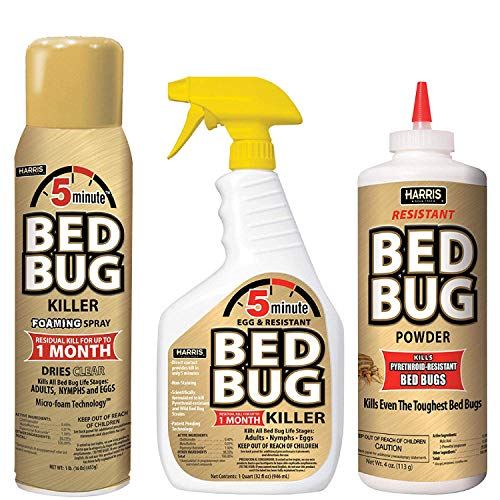 Harris 5 Minute Bed Bug Killer Value Bundle Kit - 32oz Liquid Spray, 16oz Foaming Aerosol, 8oz Bed Bug Powder