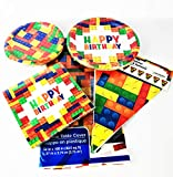 Building Block Party Supplies for 18 guests - Large and Small Plates, Tablecloth, Napkins & Flag Banner - Perfect Bundling for your Brick Theme Birthday Parties!