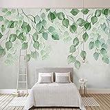 papel pintado pared 3d fotomurales Fleece Tela no tejida papel de pared moderno de decorativos murales pared 200x140cm Hoja Verde Acuarela Pastoral
