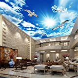 hwhz Custom Large Ceiling Zenith Mural Wallpaper 3D Stereo Blue Sky White Clouds Dove Nature Landscape Photo Mural Ceiling Wallpapers-200X140Cm