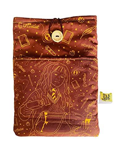 Funda artesanal para libros y tablets de Hermione Granger + marcapáginas de regalo, funda de algodón ecológico, acolchada y con bolsillo frontal y botón. Regalo ideal para adolescentes