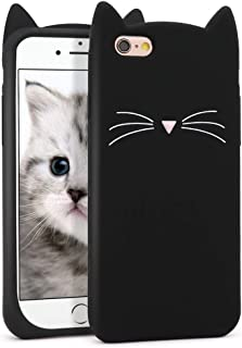 for iPhone 6 Case, iPhone 6S Case, Fashion Cute 3D Cartoon Whisker Cat Kitty Soft Silicone Gel Rubber Bumper Slim Fit Case Cover for iPhone 6 / 6S (Whisker Cat Black)