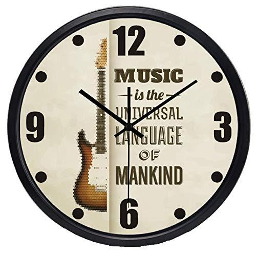 Horloge Murale Horloge Murale De Conception De Marque De Guitare Simple pour Horloge De Salle De Musique 14 Pouces B229B