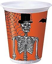 Creative Converting 8 Count Plastic Party Cups, Spooky Scenes, Orange/Black