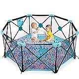Baby Laufstall Laufgitter, Faltbar & Tragbar Baby Schutzgitter mit atmnungsaktivem Mesh und Transporttasche, 8-eckig groß Activity Center für Baby Kleinkinder, indoor &outdoor