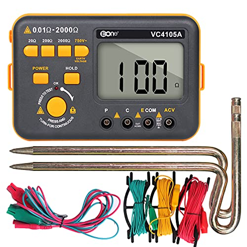 EONE VC4105A Earth Ground Resistance Tester Digital Grounding Resistance Meter, 20/200/2000Ω Resistance 750V AC Voltage Measurement Backlight LCD Display Data Hold
