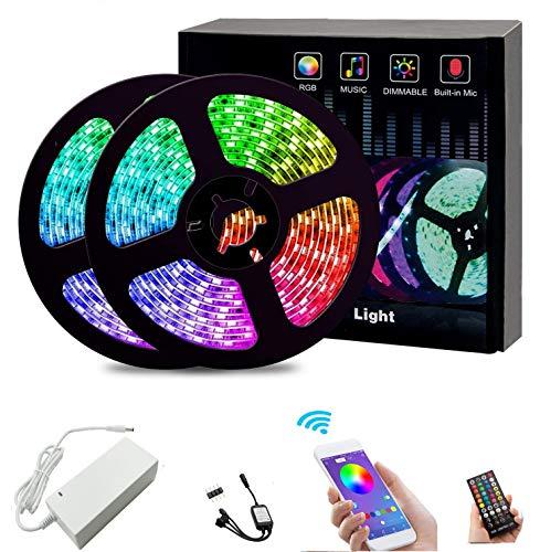 Tira LED con Bluetooth, 15 m, regulable, RGB, ultra larga, 450 ledes, 5050 SMD, autoadhesiva, sincronización de música, control mediante aplicación y mando a distancia para casa, jardín, 49ft