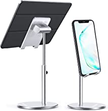 Cell Phone Stand for Desk, Height Angle Adjustable iPad Tablet Holder Stand, Sturdy Aluminum Metal Phone Holder, Compatible with iPhone/iPad/Kindle/Mobile Phone/Tablet – Silver
