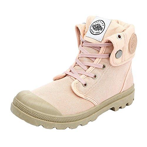 Meedot Meedot Damen Outdoor Stiefel Combat Boots Rosa Canvasschuhe Wanderstiefel Chuks Schuhe Leinenschuhe Worker High Top Sneaker 36