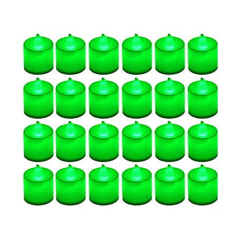 LANKER 24 Pack Flameless Led Tea Lights Candles - Flickering Battery Operated Electronic Fake Candles – Decorations for Wedding, Party, Christmas, Halloween and Festival Celebration (Green)
