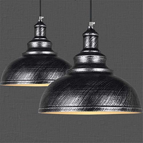 Lot de 2 Suspension Luminaire Industrielle Vintage Plafonnier en Métal Lustre Abat-jour 29cm E27 éclairage Lampe de plafond, Gris