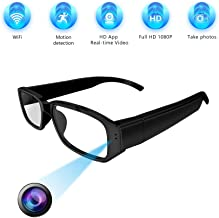 WiFi Hidden Camera Glasses, [LFHMLF-2019Upgraded] -Full HD1080P Remote View Wireless Spy Camera Supports Loop Recording,Snapshot,Mini Digital Camera by Smartphone (iOS/Android)