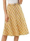 Allegra K Falda Midi Vintage A-Línea Cinturón A Cuadros Cintura Alta para Mujeres Amarillo M