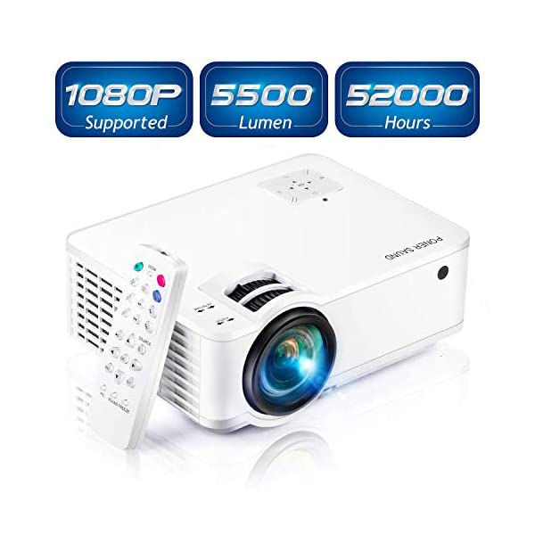 Projector, [2020 Updated] Mini Projector 1080P Supported, 5500 Lux 210″ Display with 52,000 Hrs LED Movie Projector Compatible with Phone,Computer,Laptop,USB,HDMI,VGA-Home,Office,Outdoor Entertainment