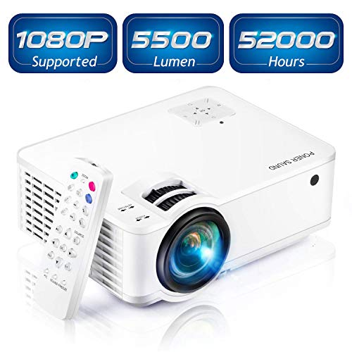 "Projector, [2020 Updated] Mini Projector 1080P Supported, 5500 Lux 210"" Display with 52,000 Hrs LED Movie Projector Compatible with Phone,Computer,Laptop,USB,HDMI,VGA-Home,Office,Outdoor Entertainment"