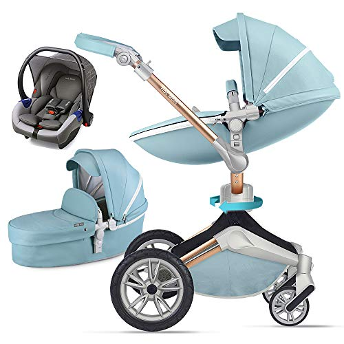Kombikinderwagen 3 in 1 mit Buggy und Babywanne 2020 Hot Mom neues Design, Blau 3-1