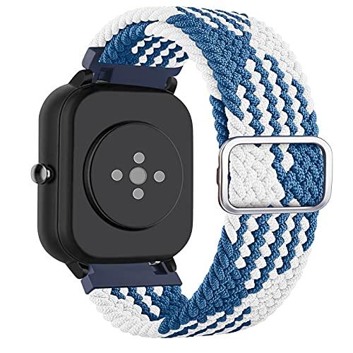 DEOU 20mm Correa Compatible con Amazfit Bip Amazfit GTS/GTS 2,Ajustable Trenzada Elástica con Hebilla Pulseras de Repuesto para Xiaomi Huami Amazfit Bip Lite Amazfit GTR 42mm Watch(Azul Blanco)