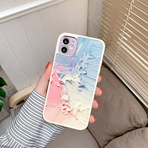 VHR Fundas Cute Love Heart Flower Leaf Phone Case para iPhone 12 11 Pro MAX 12 Mini 8 7 Plus X XS MAX XR Marble Wartercolor Painting Cover para iPhone 12 T11