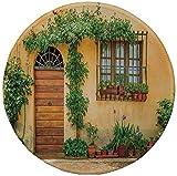 Rutschfreies Gummi-Rundmauspad Italien Veranda mit verschiedenen Blumentöpfen Frische grüne Pflanzen Stadtleben in der Toskana Dekorativ Aprikosengrünbraun 7.9'x7.9'x3MM