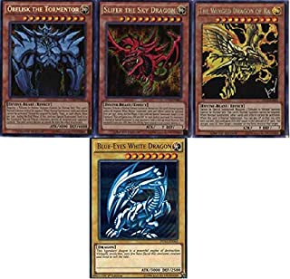 Yu-Gi-Oh - 3 God Cards! and Blue Eyes White Dragon 50 Card Lot! with Rare Cards Guaranteed