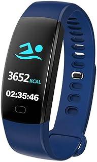 AIFB Pantalla a Color Smartwatch, Impermeable Contador de calorias Podómetro pulsómetro Carga USB Alarma Notificaciones Inteligentes para Android iOS Phone,Blue-OneSize