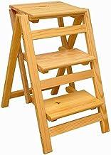 T-Stepladder Leiter Hocker Massivholz 3 Leiter Stuhl Multifunktionale Holzleiter Stuhl Faltbare Regalleiter