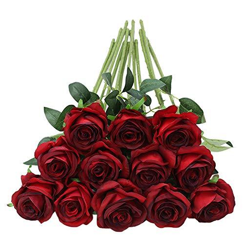 Tifuly 12 PCS Künstliche Rosen, 19,68 '' Single Long Stem Fake Rose Seide Braut Hochzeitsstrauß Realistische Blume für Hausgarten Party Hotel Büro Dekor (Blüten Rosen,Burgund)