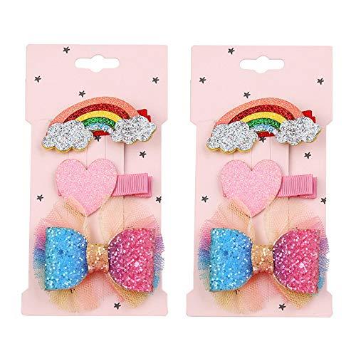 6 Pcs Rainbow Cloud Love Heart Hair Clips Hair Bow Clips Hairpins Bows Head Ornaments Set for Girls Gifts