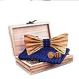 ReedG Corbata de Moño Pajarita de Madera Hecha a Mano para Hombres con Pocket Pocket Plaza y Gemelos en Juego para la Fiesta Ajustable (Color : T248-c1, Tamaño : One Size)